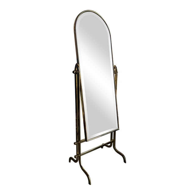 Vintage Shiny Brass Dressing Mirror For Sale