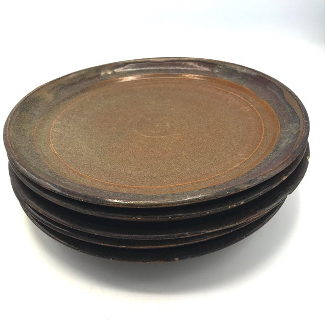 Studio Pottery Brown Clay & Glaze Plates - Set of 6 For Sale - Image 5 of 5