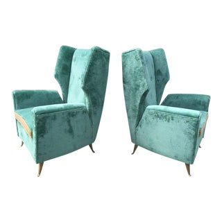 Pair of Gio Ponti attributed Vintage Italian Armchairs For Sale