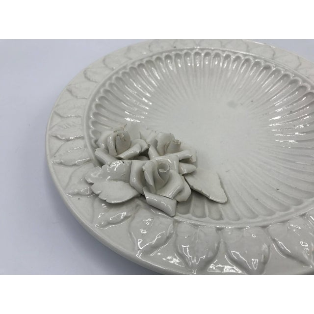 1970s Italian Ceramic Plate With Floral Motif Sculpture For Sale - Image 4 of 9