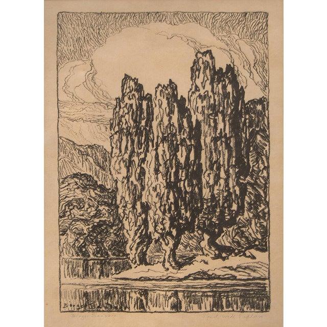 "1923 Original Signed Framed Lithograph ""Pond With Poplars"" by Swedish-American Kansas Artist, Birger Sandzén (1871-1954)...."