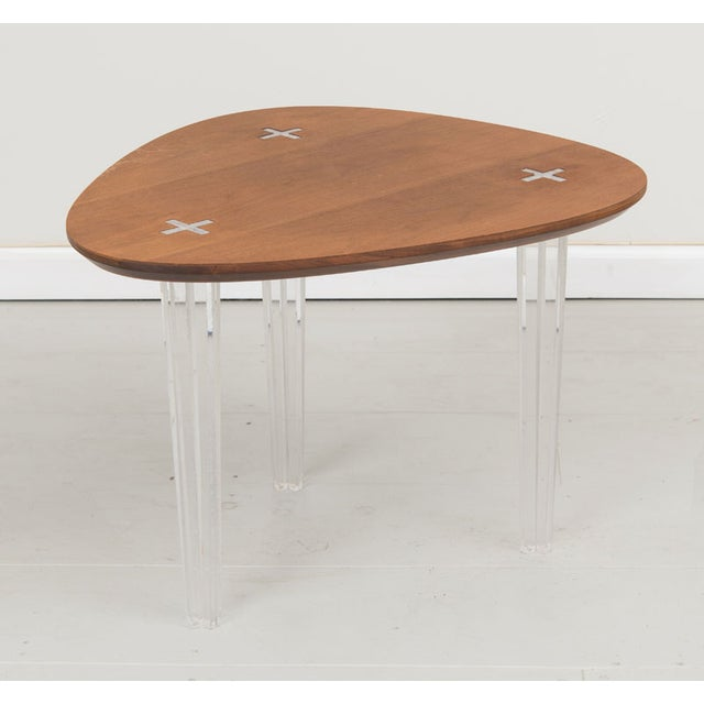 Mid-Century Heart Shape Coffee Table Lucite Legs - Image 3 of 4