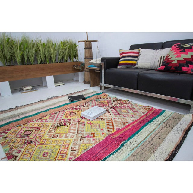 Vintage Small Turkish Kilim Rug For Sale In Los Angeles - Image 6 of 7