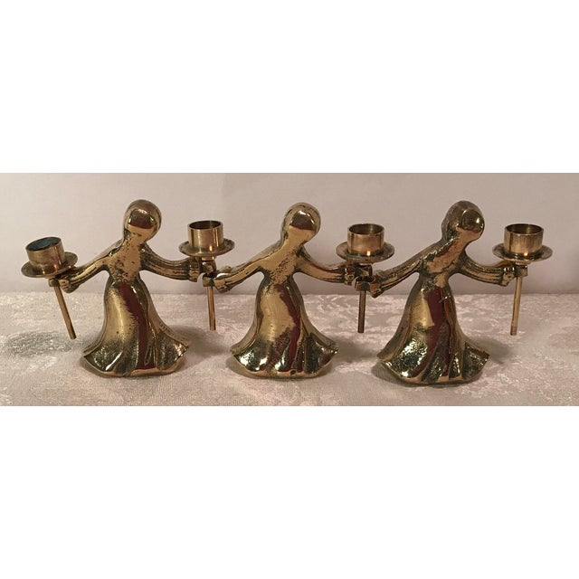 Vintage Mid-Century Modern Brass Angel Candle Holders - Image 5 of 8