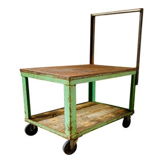 Vintage Industrial Cart Steel and Wood Bar Table For Sale