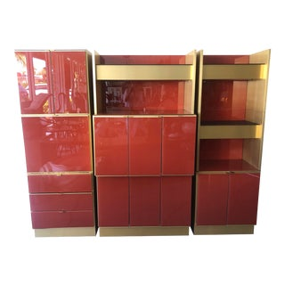 1970's Glass & Brass Wall Unit by Ello For Sale