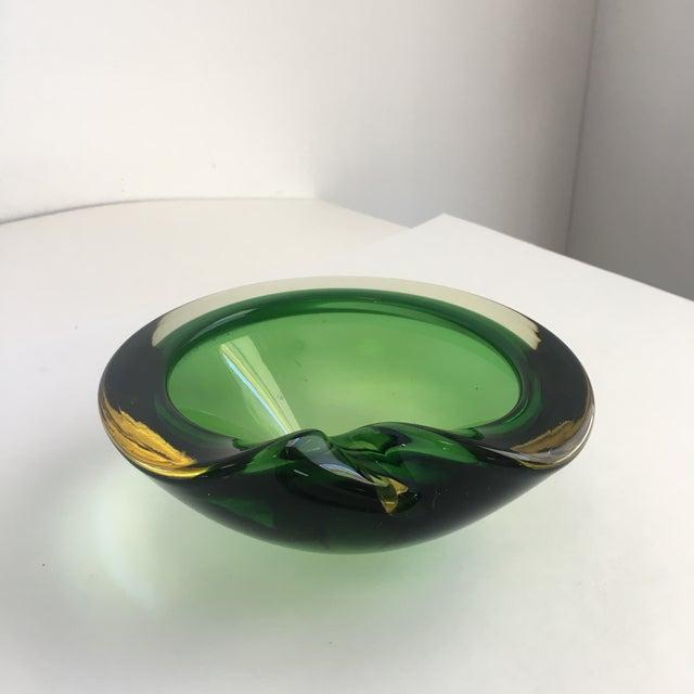 Boho Chic Contemporary Flavio Poli Green Murano Glass Dish For Sale - Image 3 of 8