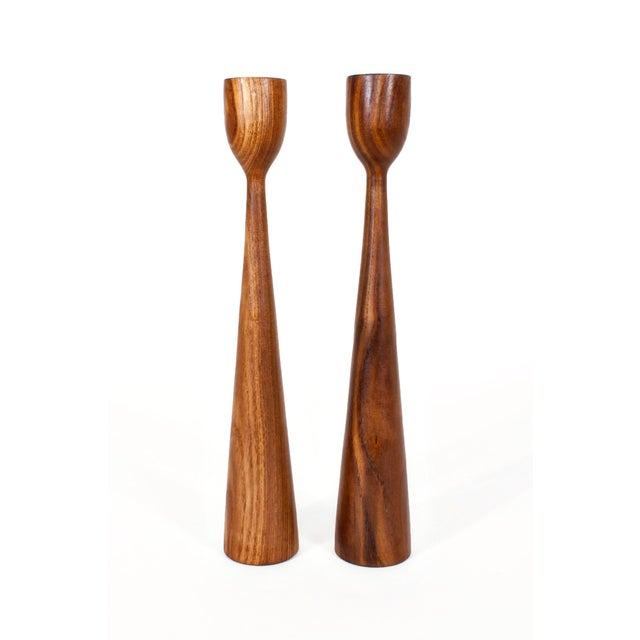 Wood Danish Mid Century Teak Candle Holders - a Pair For Sale - Image 7 of 7
