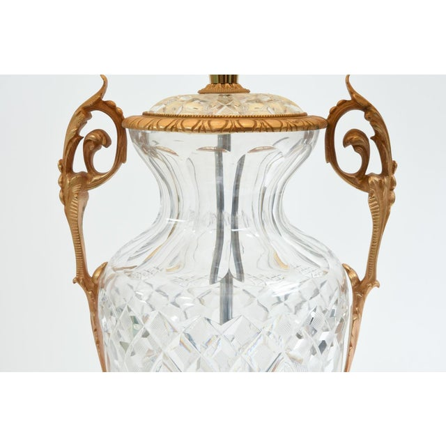 Hollywood Regency Large Bronze-Mounted / Cut Crystal Table Lamps - a Pair For Sale - Image 3 of 11