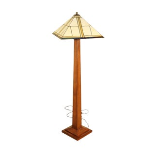 Stickley Mission Collection Oak Square Base Floor Lamp with Art Glass Shade For Sale