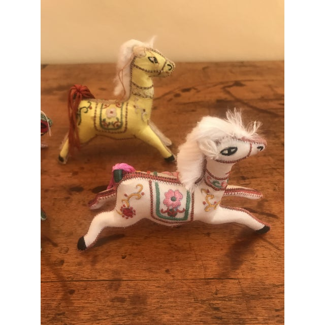 1970s Children's Embroidered Satin Horse Christmas Ornaments - Set of 5 For Sale In San Francisco - Image 6 of 10