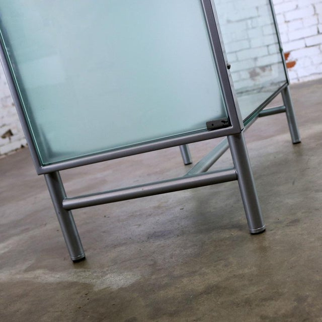 Modern Dual Sided Glass and Metal Enclosed Display For Sale - Image 11 of 13
