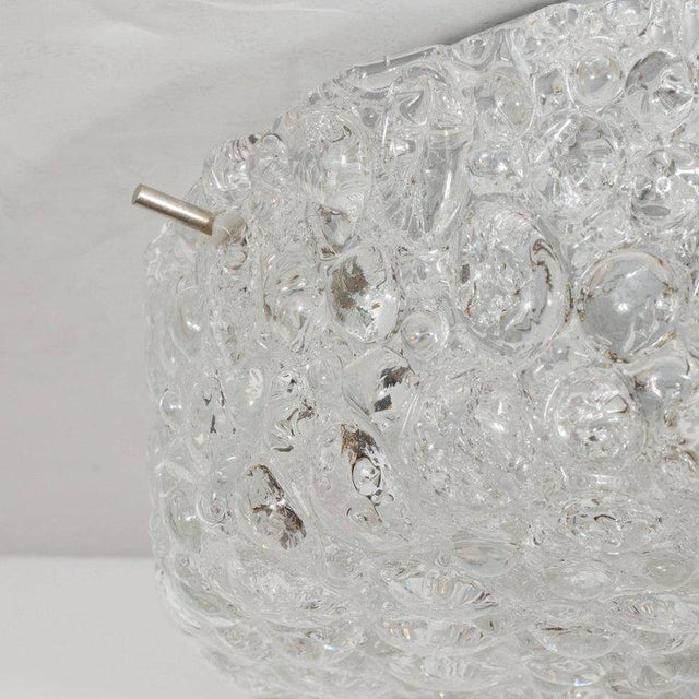 Mid-Century Modernist Textured Murano Glass Flush Mount with Nickel Fittings For Sale - Image 4 of 6