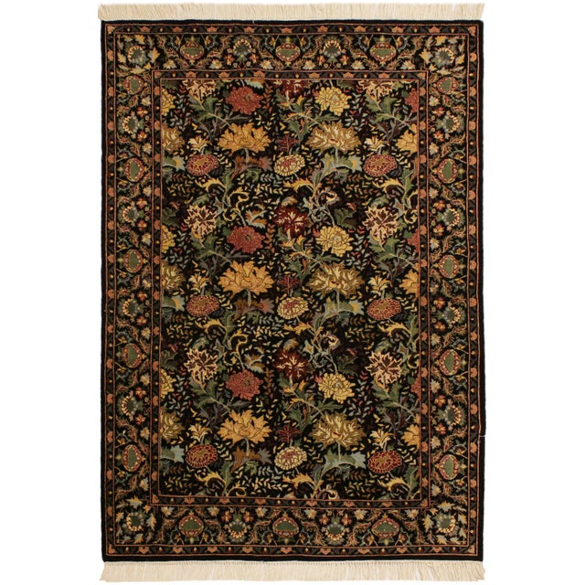 Green Pak-Persian Freddie Black/Pink Wool Rug - 4'1 X 6'1 For Sale - Image 8 of 8