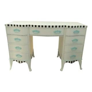 1970s Shabby Chic 9 Drawer Partner Desk For Sale