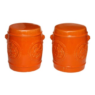 Orange Ceramic Garden Stools - A Pair For Sale