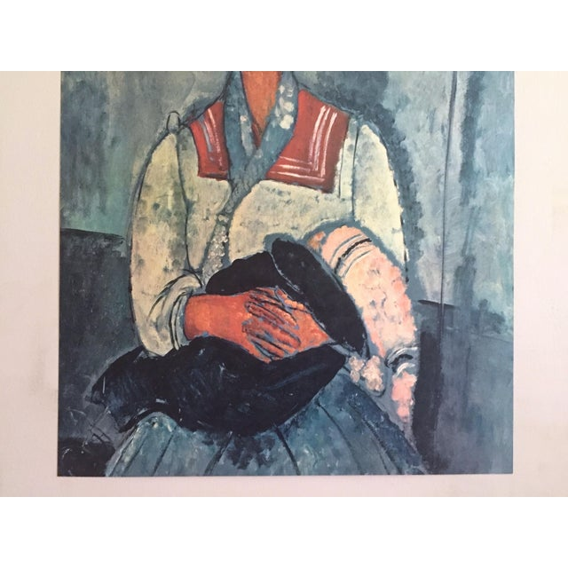 """Portraiture Amadeo Modigliani Rare Vintage Mid Century Large Lithograph Print """" Gypsy Woman With a Baby """" 1919 For Sale - Image 3 of 10"""