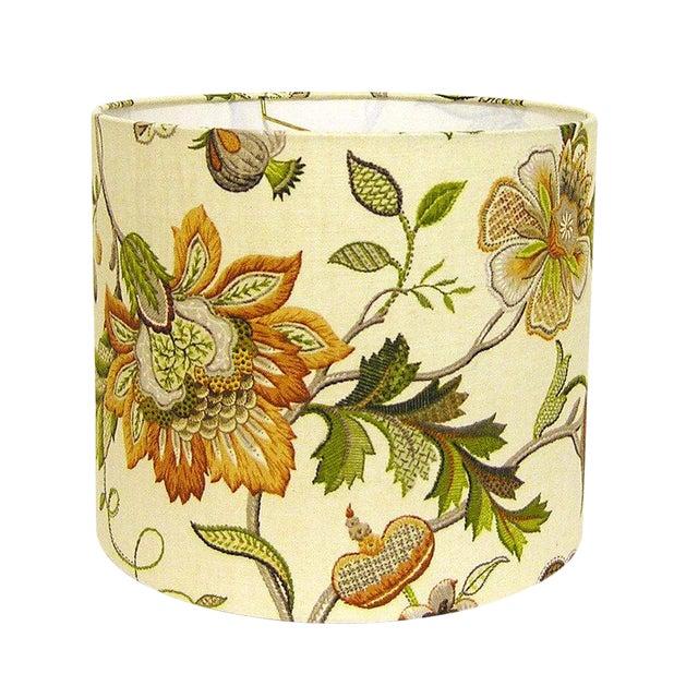 Medium P Kaufmann Brissac Amber Floral Custom Drum Floral Lamp Shade For Sale