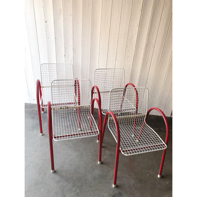 80's Vintage Designer Arc Grid Patio Chairs For Sale - Image 12 of 12