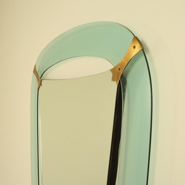 XL Crystal Art Green Glass Dressing Wall Mirror, Italy, 1950s - Image 4 of 4