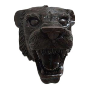 Hand Carved Mahogany Lion Tiger Head Wall Mount - Image 1 of 8