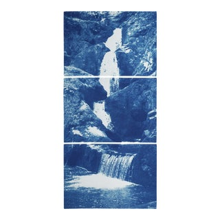 Zen Forest Waterfall, Original Cyanotype Vertical Triptych by Kind of Cyan, 2020, 3 Pieces For Sale