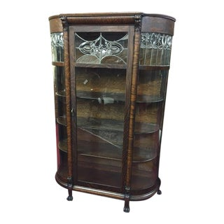 Antique Leaded Glass Bowed China Cabinet For Sale