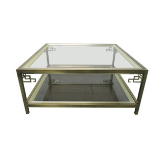 Mastercraft Brass With Smoked Glass Top Coffee Table For Sale