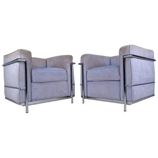 Mid-Century Modern Le Corbusier Style Lounge Chairs - a Pair For Sale