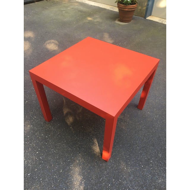 1970s 1970s Modern Tomato Red Parsons Dining Table For Sale - Image 5 of 5