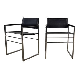 Vintage Chrome & Black Vinyl Faux Leather Sling Director's Chairs Straight Legs, a Pair For Sale