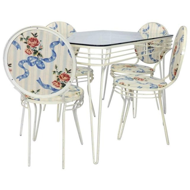 Mid 20th Century Wrought Iron Art Moderne Dinette Table and Chairs For Sale - Image 5 of 5