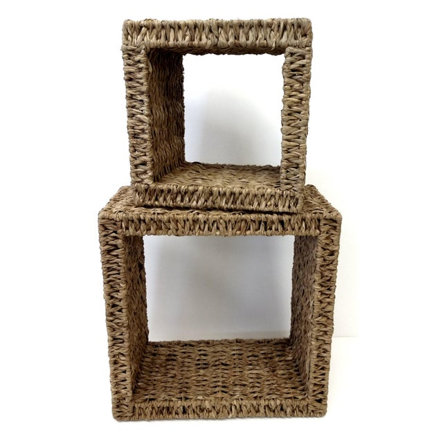 Sea Grass Shadow Box Shelves- A Pair - Image 2 of 5