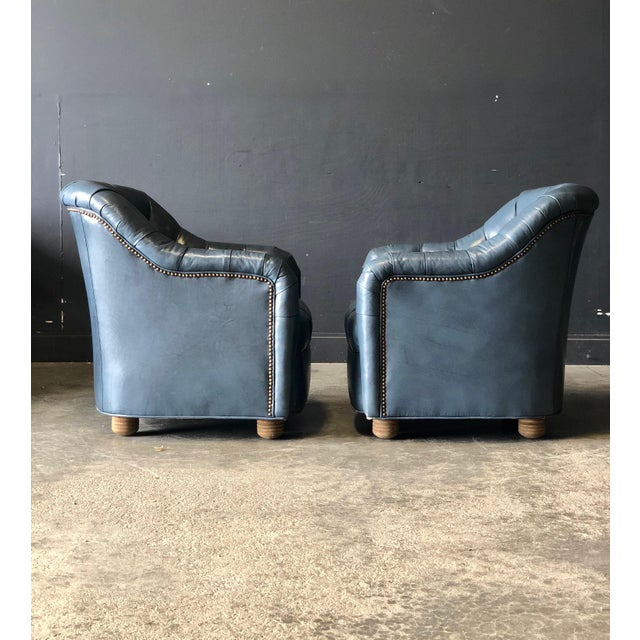 Traditional A Pair of Blue Leather Club Chairs For Sale - Image 3 of 9