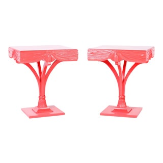 Midcentury Coral Lacquered Regency Side Tables - A Pair For Sale