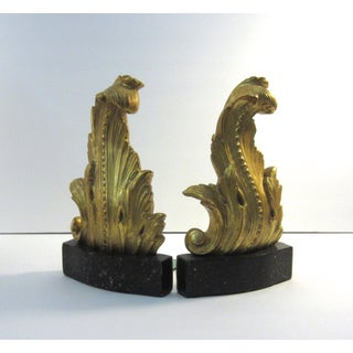 Late 20th Century Vintage Gold Gilt Acanthus Leaf Faux Marble Bookends - a Pair Preview