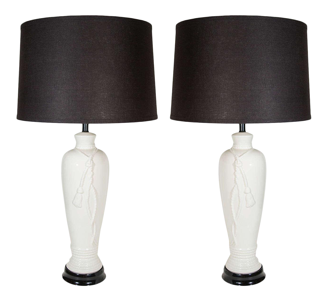 Hollywood Regency Porcelain Lamps With Rope And Tassel Design   Image 1 Of 8