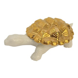 Contemporary Gold Porcelain Turtle Box Figurine For Sale