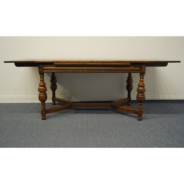 """Brown Vintage Antique Oak English Revival Gothic Jacobean 84"""" Draw Leaf Dining Table For Sale - Image 8 of 11"""