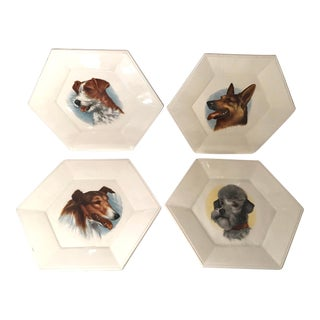Vintage Ceramic Dog Plates - Set of 4 For Sale