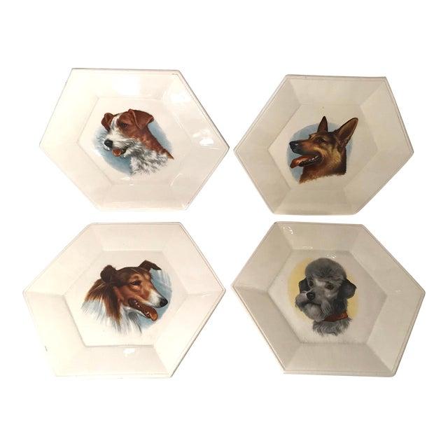 Vintage Ceramic Dog Plates - Set of 4 For Sale