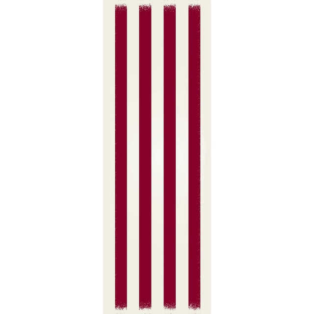 Modern Red & White Striped Rug - 2' X 6' For Sale - Image 3 of 3