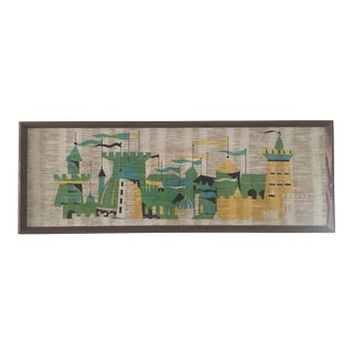 Mid Century Medieval Castle Art on Woven Textile For Sale