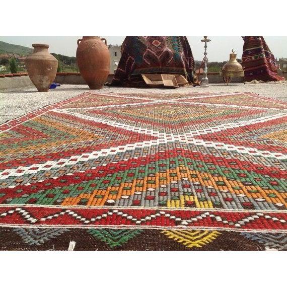 Islamic Vintage Turkish Kilim Rug - 6′5″ × 9′10″ For Sale - Image 3 of 5