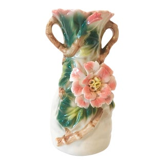 Vintage Italian Majolica Vase With Floral and Branch Details For Sale