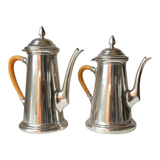 Pair of Pewter Coffee and Teapots For Sale