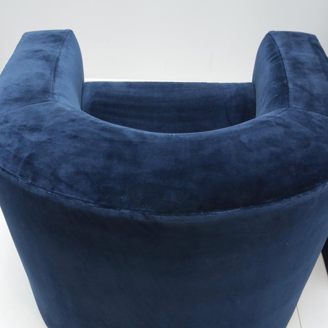 Mid-Century Modern Pair of Velvet Tub Chairs For Sale - Image 3 of 11