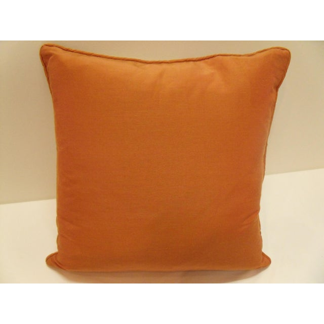 2010s Coral Pattern Linen Fabric & Linen/Silk Back & Trim Feather Filled Pillows - a Pair For Sale - Image 5 of 6