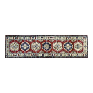 Hand-Knotted Red Kazak Geometric Design Runner- 2′10″ × 10′3″ For Sale