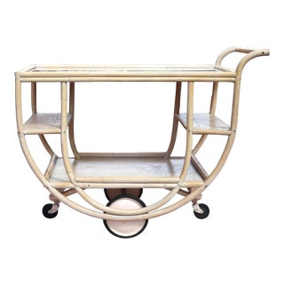 Vintage Bent Rattan Bar Cart For Sale